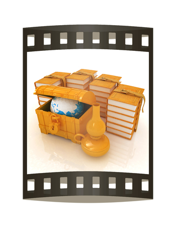 Earth in chest and leather books with kerosene lamp. Edication concept in retro stile. 3d render. Film strip.