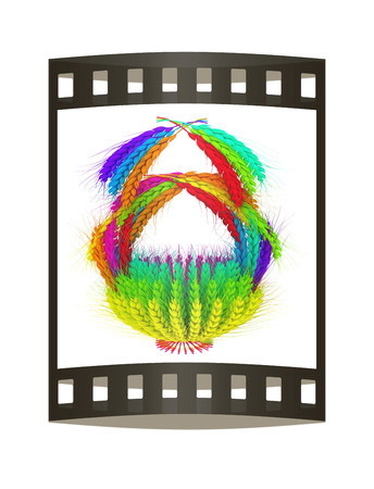 A colorful basket of wheat for Easter or Thanksgiving. 3d render. Film strip.