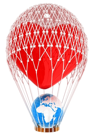 Hot Air Balloon of heart with Earth.  Global ecology concept. 3d render Reklamní fotografie
