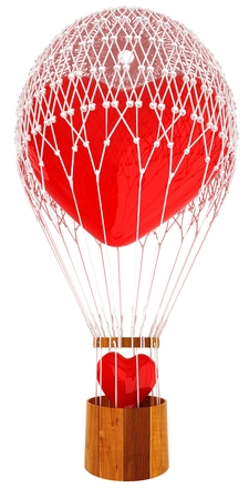 Hot Air Balloon of heart with heart. Wedding concept. 3d render Banque d'images - 122001994