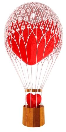 Hot Air Balloon of heart with heart. Wedding concept. 3d render