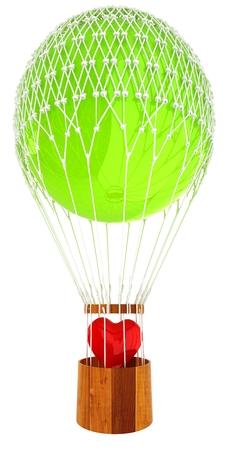 Hot Air Balloon with heart. Wedding concept. 3d render Reklamní fotografie
