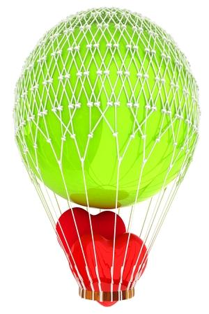 Hot Air Balloon with heart.  Global wedding concept. 3d render