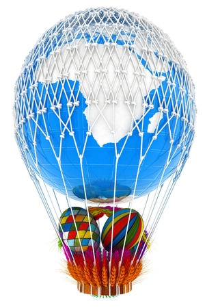 Hot Air Balloon of Earth with a basket of multicolored wheat and Easter eggs inside. 3d render