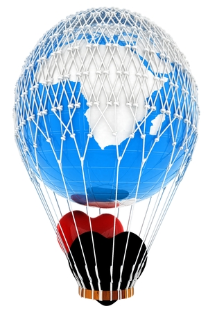 Hot Air Balloon of Earth with heart.  Global wedding concept. 3d render
