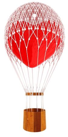 Hot Air Balloon of heart. Wedding concept. 3d render