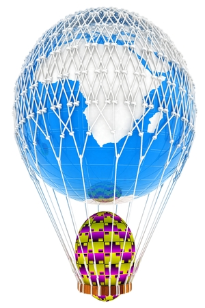 Hot Air Balloon of Earth with  Easter egg.  Global Easter concept. 3d render