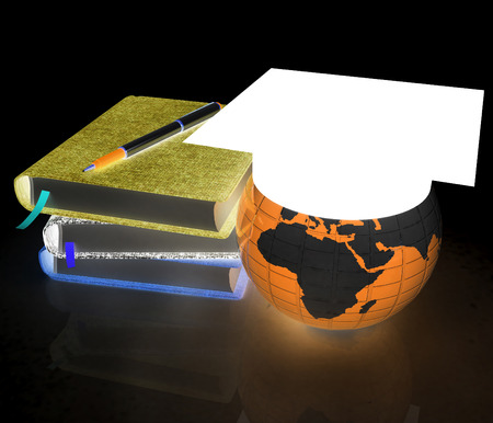 Notepads, pen and Earth in graduation hat. 3d render. On a black background. Stock Photo