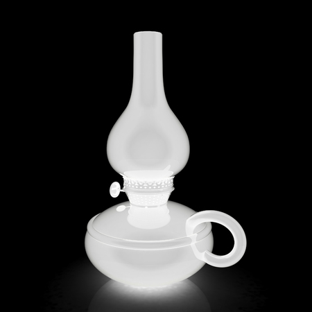 Old retro vintage kerosene lamp. 3d render. On a black background.