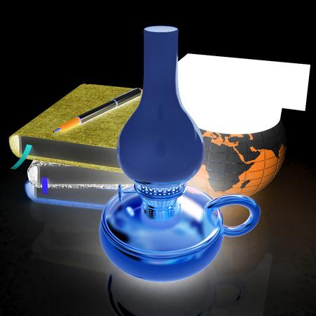 Notepads, pen, kerosene lamp and Earth in graduation hat. 3d render. On a black background.