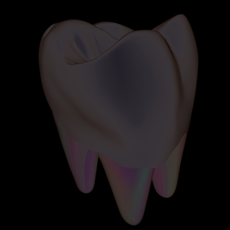 Tooth. 3d illustration. On a black background.