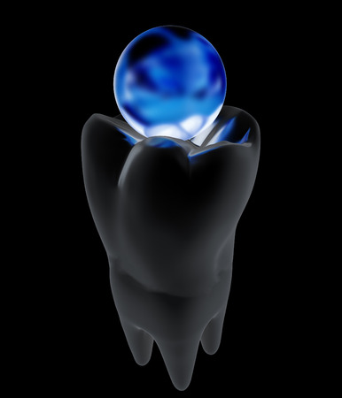 Tooth and sphere. 3d illustration. On a black background. Stock Photo