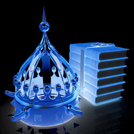 Gold crown and leather books. 3d render. On a black background. Stockfoto