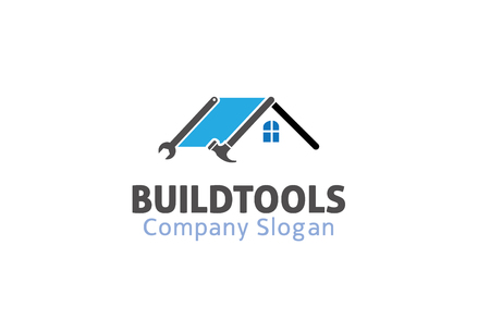 House Repair Wrench Hammer Design Illustration