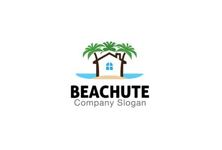 logo batiment: Beach Hut Conception Illustration