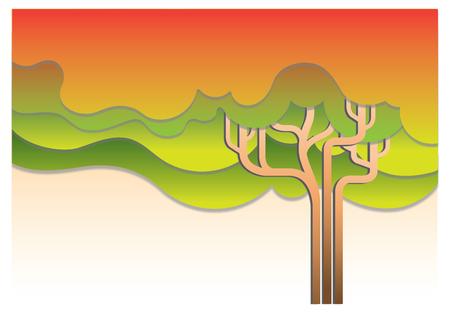 shape silhouette: Autumn Tree Abstract illustration
