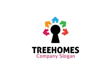 Homes Tree Design Illustration Illustration