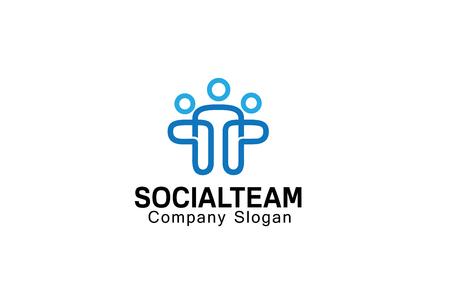 Social Team Design Illustration Vettoriali