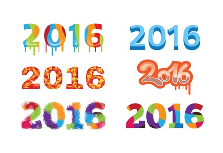 dyeing: 2016 Colorful Design Template Number Illustration