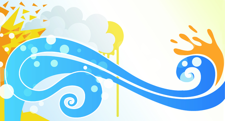 waterpolo: Sea waves painting illustration