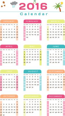holidays vacancy: English Calendar 2016 Design Illustration