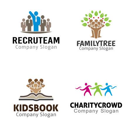 girotondo bambini: Persone Crowd Design Illustrazione Vettoriali