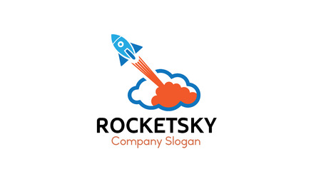 Rocket Sky Logo Design Illustration