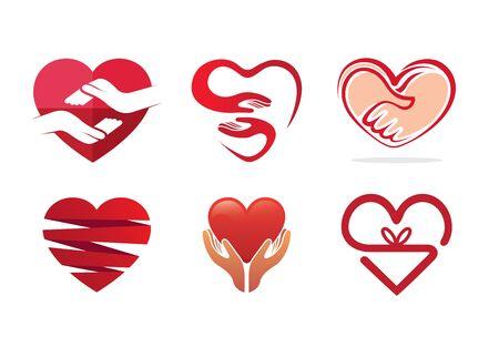 give: Hearts Symbol Logo  Design Illustration Illustration