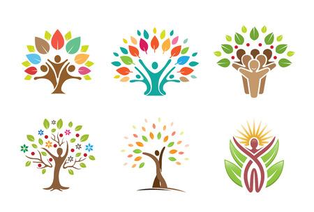 나무 사람들 기호 로고 디자인 일러스트 레이션 스톡 콘텐츠 - 80166370