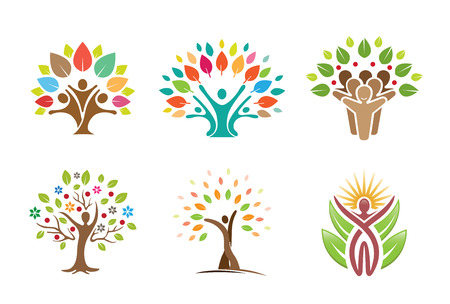 Tree People Symbol Logo Design Illustration