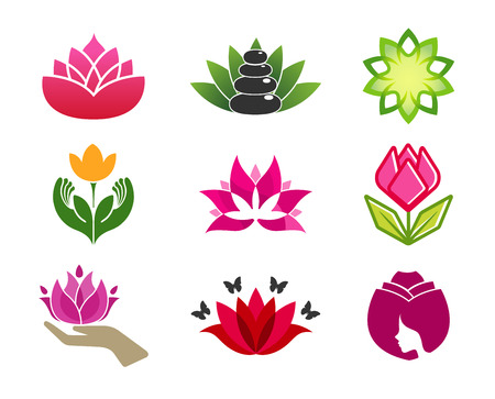 Spa flower and rose Logo Design Illustration Illustration
