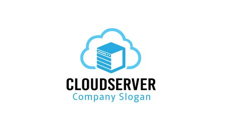 Cloud Server Logo Design Illustration.