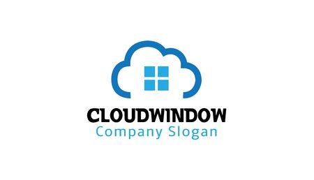 clouding: Cloud Window Logo Design Illustration Illustration