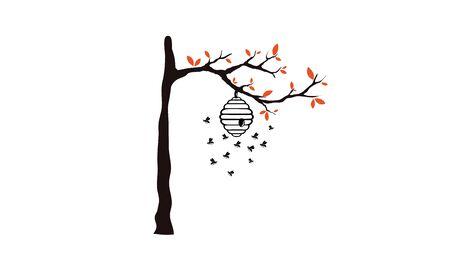 Tree with beehive design Illustration  イラスト・ベクター素材