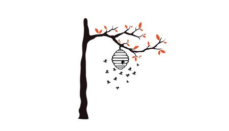 Tree with beehive design Illustration 일러스트
