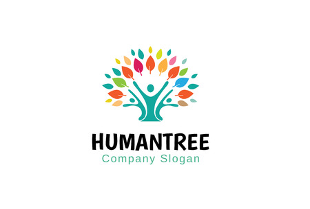 Human Tree Logo Symbol Design Illustration
