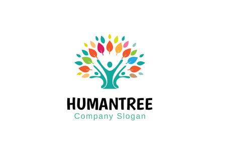 Human Tree Logo Symbol Design Illustration