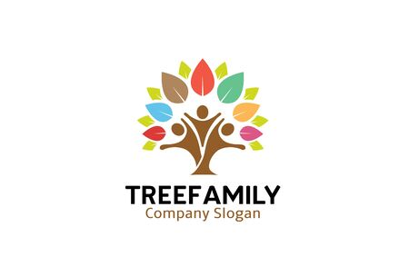 Colorful Tree Family Logo  Design Illustration Çizim