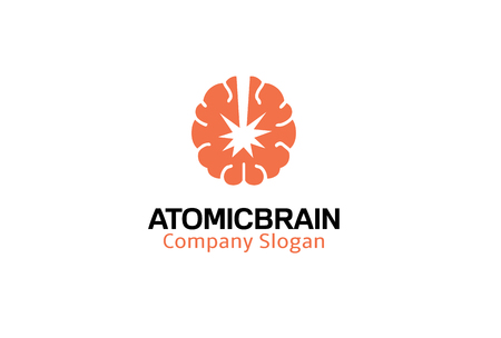 Atomic Brain Logo Design Illustration