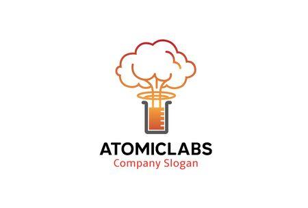 chemical warfare: Atomic Labs Logo Design Illustration Illustration