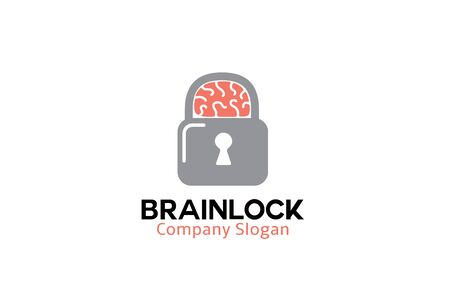 Brain Lock Logo Design Illustration Ilustrace
