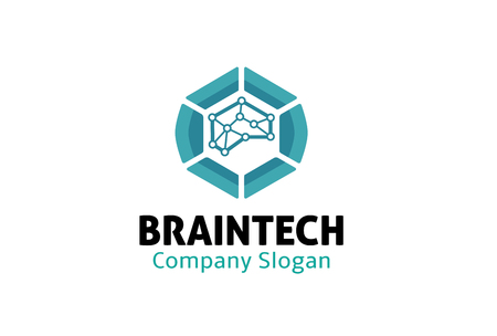 brainwash: Brain Tech Logo Design Illustration