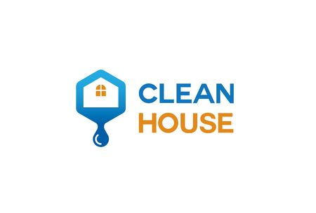 Clean House Logo Design Illustration