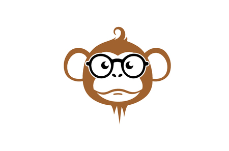 Monkey Geek Cartoon Head Logo Design Illustration
