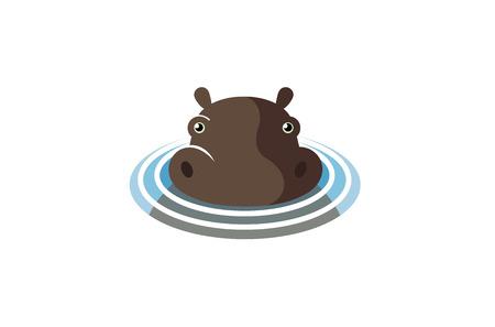 Swimming Hippopotamus Logo Symbol Design Illustration
