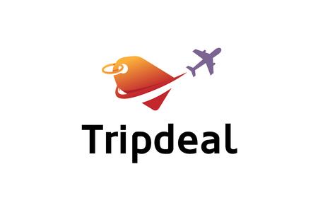 Vliegtuig Reis Deal Etiket Unieke Creatieve Luchtontwerp Illustratie