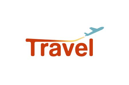 round logo: Typography Travel Airplane Creative Letter Design Illustration