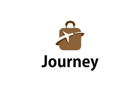 Suitcase Travel airplane symbol Creative Air Logo Design Illustration