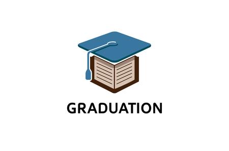 Square Academic Cap Book Student  Design Logo Illustration Illustration