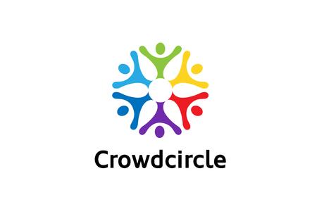 Colorful People Group Team Logo Design Illustration